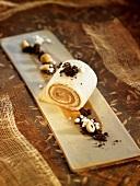 Hazelnut rolled sponge cake