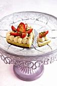 Cream, strawberry and pistachio tart