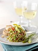 Green asparagus and avocado tartare