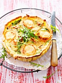 Apple,goat's cheese and rocket quiche