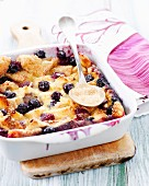 Summer fruit bread and butter pudding