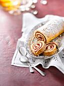 Redcurrant jam rolled sponge cake