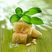Basil, parmesan,garlic and pine nuts