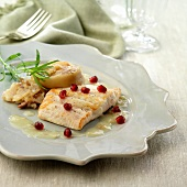 John Dory supreme,Champagne sauce and pomegranate seeds
