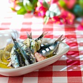 Marinated anchovies with garlic and fennel,Italy
