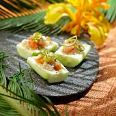 Cucumber and raw fish tartare,Samoa