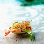 Seafood brochette, Mediterranean