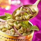 Lima bean,onion,mint and aniseed salad