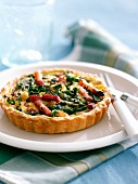 Swisschard and diced bacon tartlet