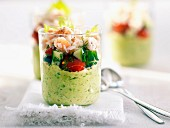 Creamed cucumber and crab Verrine