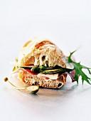Raw ham and zucchini baguette sandwich