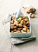 white haricot beans with diced bacon