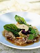 Rabbit terrine with foie gras in beer aspic