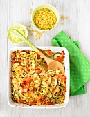 Shell pasta and vegetable gratin
