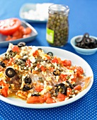 Skate with capers,olives and tomatoes