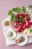Radishes with three different flavored salts