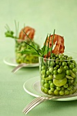 Pea,broad bean and crisp bacon Verrine