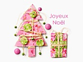 Pink paper Christmas tree and present