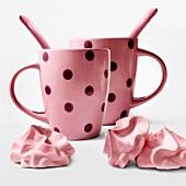Pink meringues and mugs