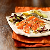 Salmon trout gravlax with mild pepper and beetroot