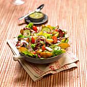 Roasted potato and rabbit mixed salad