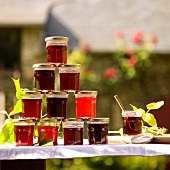 Pyramid of summer fruit jelly in jars