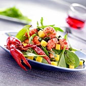 Crayfish,mango,spinach and pistachio salad