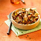 Pan-fried ceps with diced bacon