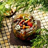 Jar of mushrooms in oil