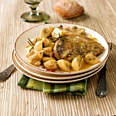 Pheasant with mushrooms and rosemary