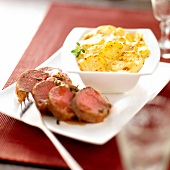 Lamb fillet with small potato gratin
