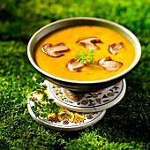 Cream of pumpkin soup with ceps