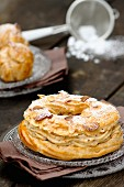 Homemade Paris-Brest (choux pastry filled with butter cream, France)