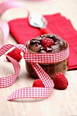 Fondant au chocolat (moist chocolate cake) with raspberries