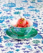 Strawberry sorbet with pistachios