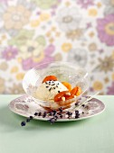 Lavender ice cream and roasted apricots