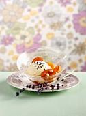Lavendeleis mit gebratenen Aprikosen