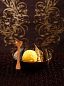 Passion fruit sorbet with fried banana