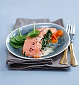 Salmon fillet with a herb filling