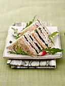 Cream cheese, rocket lettuce and radish club sandwich