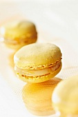 yellow peach and Vin de Paille macaroons