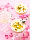 Champagne and exotic fruit zabaglione