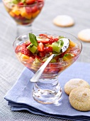 Fruit salad in jelly and amarettis