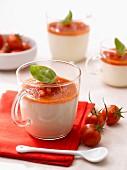 Feta panna cotta with tomato puree