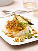 Cod coated with raisin and onion crumble, grilled eggplants