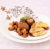 Poached and chilled foie gras with pan-fried chanterelles and apples