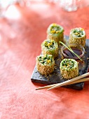 Crab, cucumber and sesame seed makis