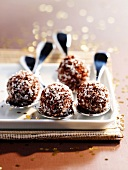 Almond-passion fruit truffles