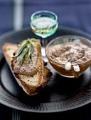 Santo wine-flavored chicken liver paté on toast