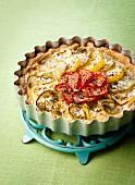 Yellow and red tomato tart